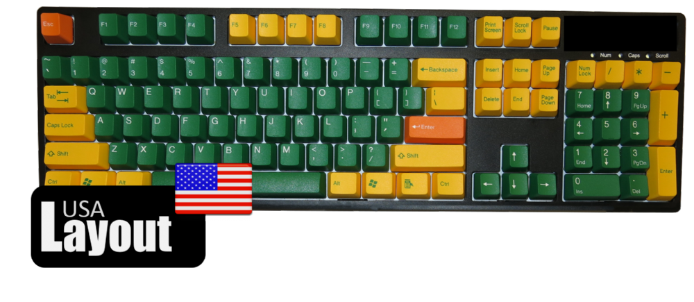 Tai-Hao ABS Double Shot Keycaps Golden Green USA